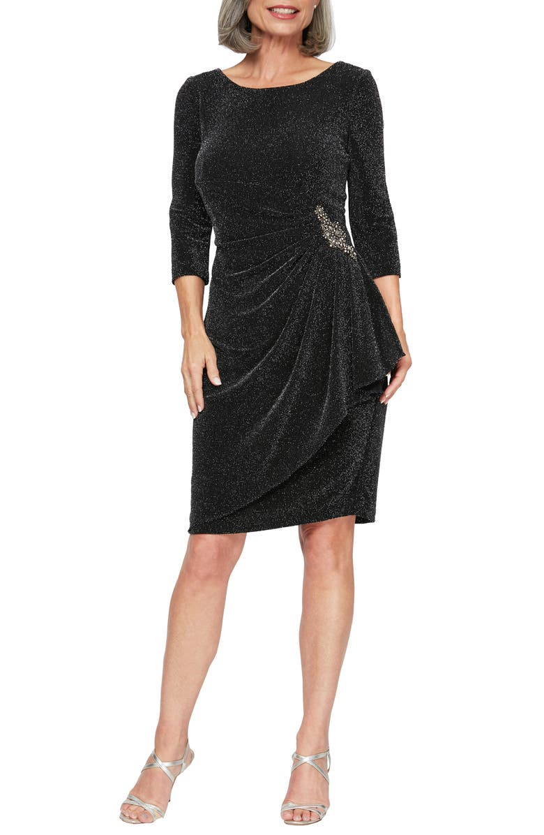 ALEX EVENINGS Side Ruched Metallic Cocktail Dress, Main, color, 005