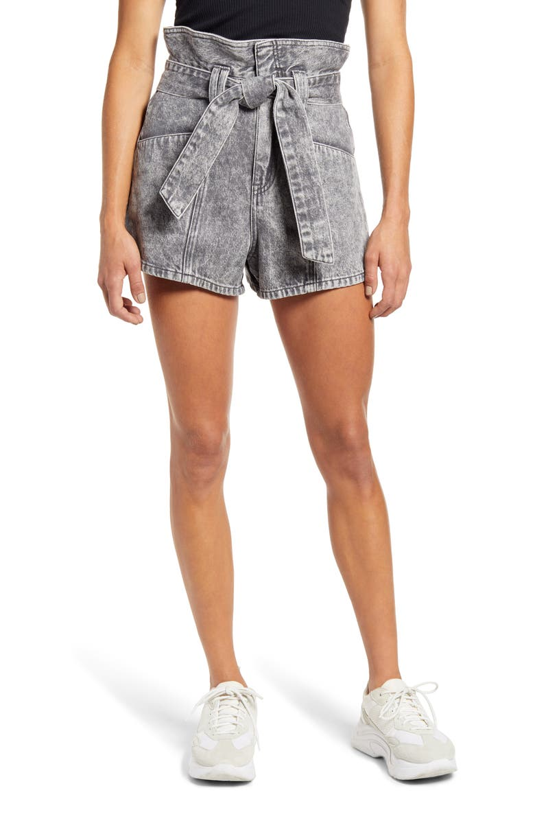 BLANKNYC Paperbag Waist Denim Shorts, Main, color, FEARLESS