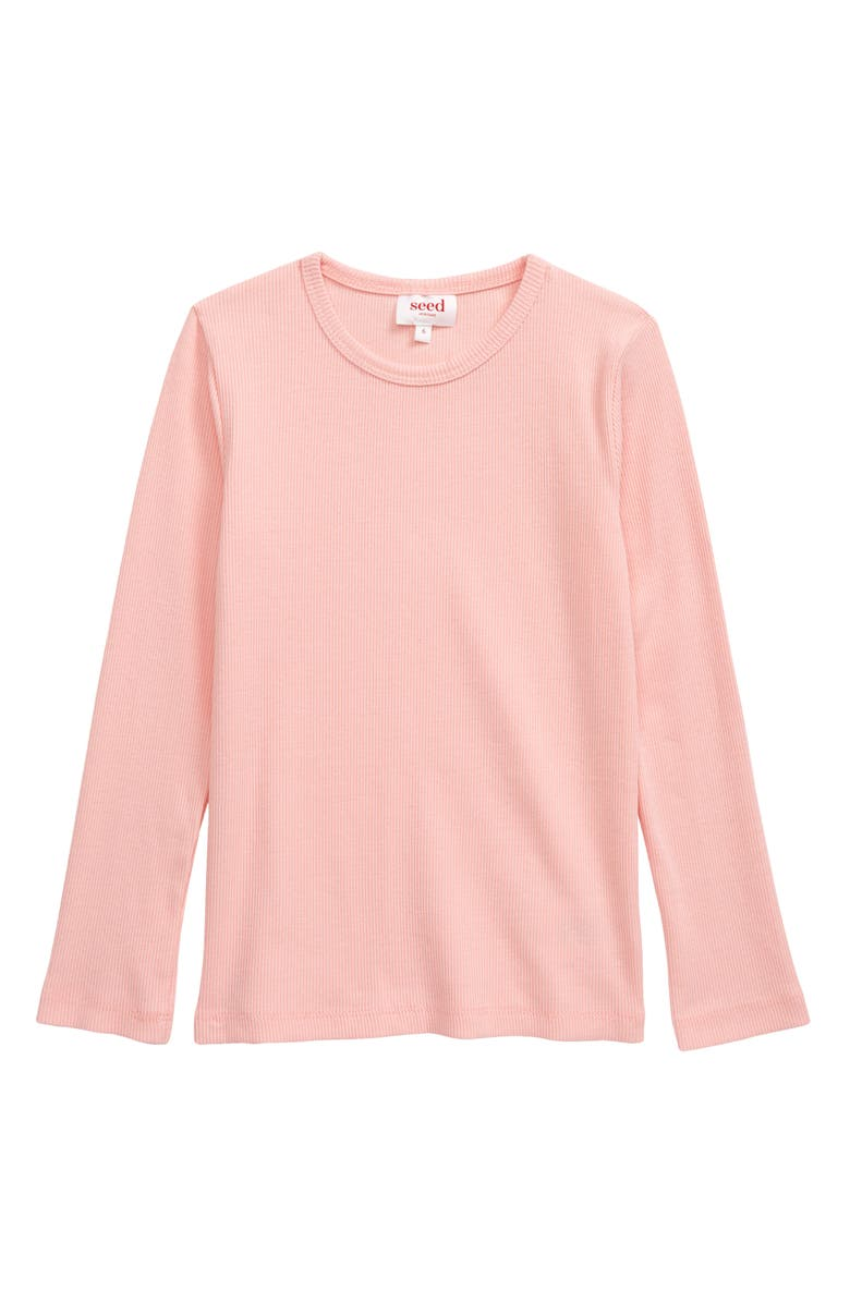 SEED HERITAGE Kids' Core Rib Long Sleeve T-Shirt, Main, color, DUSTY ROSE