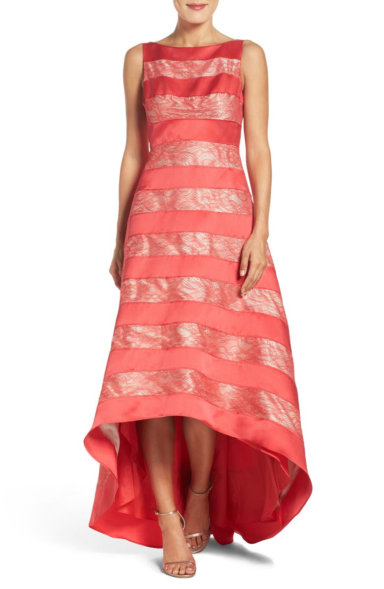 ADRIANNA PAPELL High/Low Gown, Main, color, HOT TOMATO