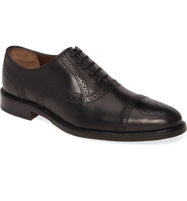 JOHNSTON & MURPHY Daley Medallion Toe Oxford, Main, color, BLACK LEATHER