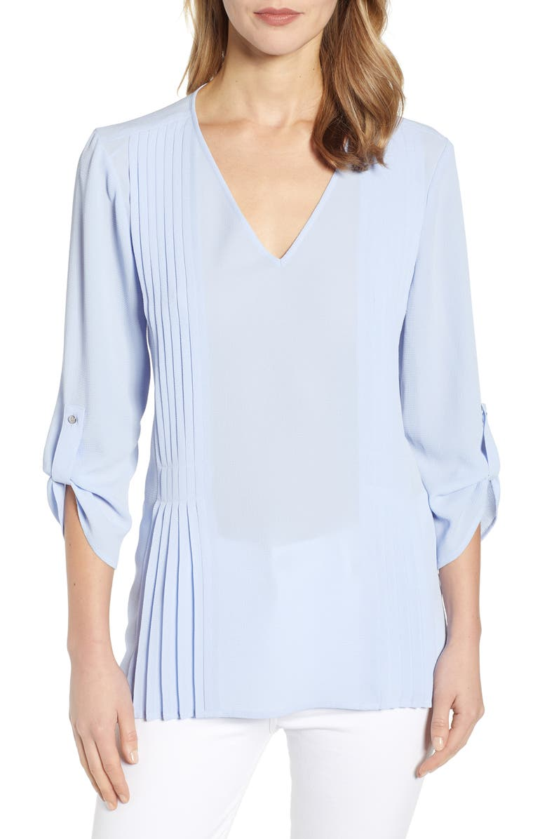 CHAUS Roll-Tab Pintuck Blouse, Main, color, 504