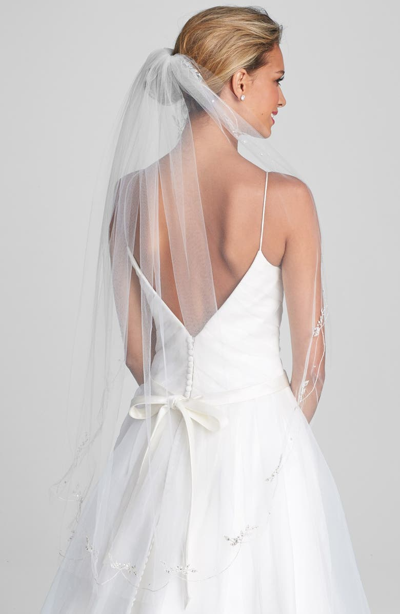 WEDDING BELLES NEW YORK 'Chanson' Embroidered Veil, Main, color, IVORY