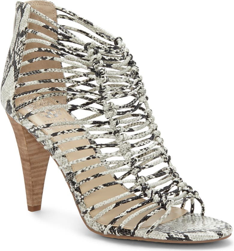 VINCE CAMUTO Alsandra Strappy Cage Sandal, Main, color, WHITE SNAKE PRINT LEATHER