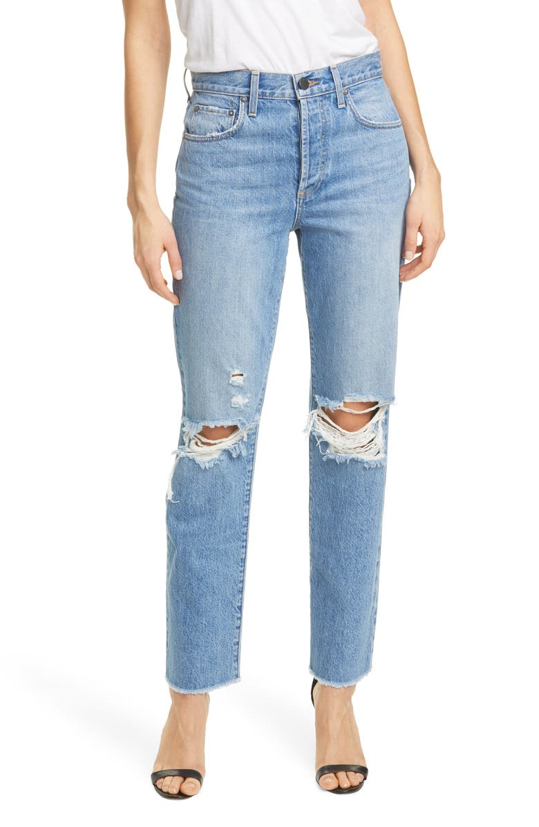 ALICE + OLIVIA Amazing High Waist Ripped Boyfriend Nonstretch Cotton Jeans, Main, color, 471