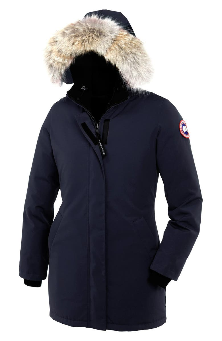 CANADA GOOSE Victoria Down Parka with Genuine Coyote Fur Trim, Main, color, NAVY