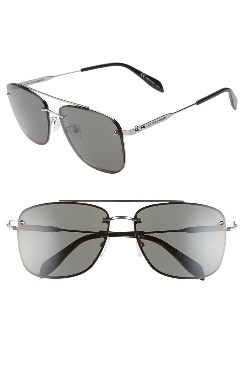 ALEXANDER MCQUEEN 62mm Oversize Navigator Sunglasses, Main, color, 050