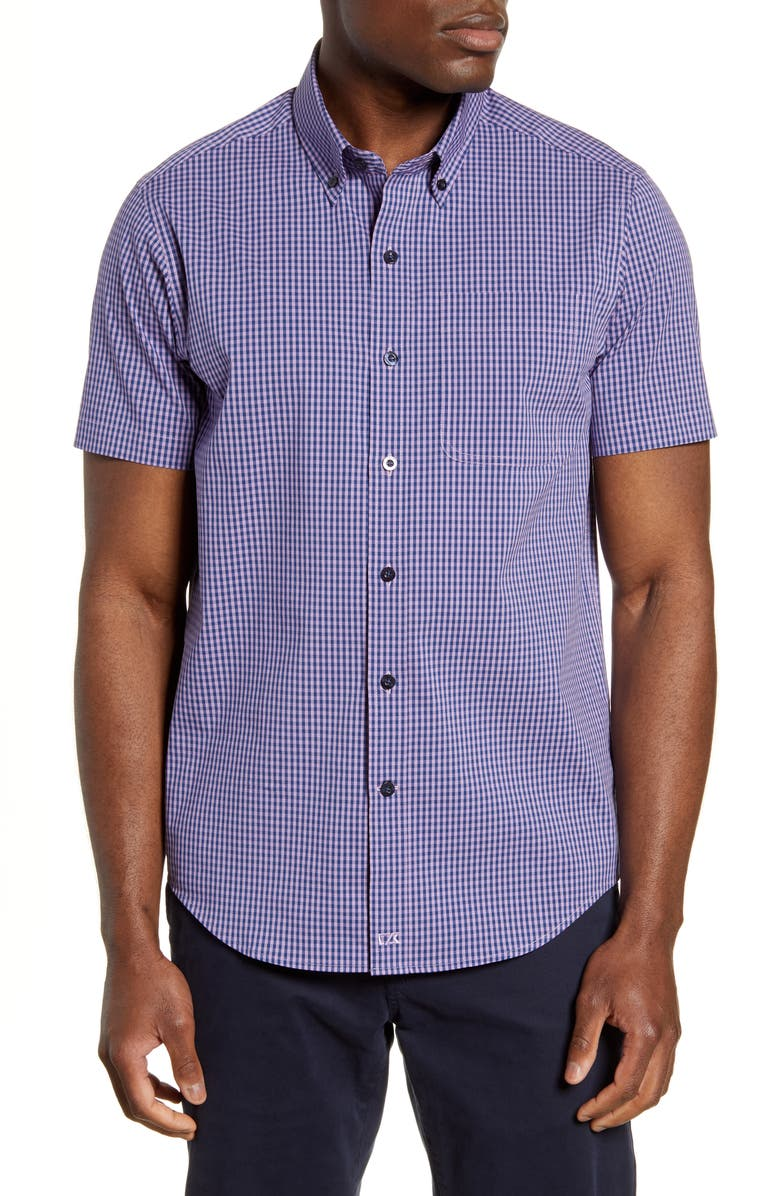 CUTTER & BUCK Anchor Classic Fit Gingham Shirt, Main, color, MAJESTIC