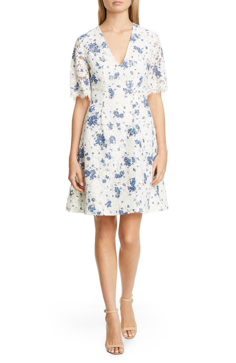 LELA ROSE Print Lace A-Line Dress, Main, color, 900