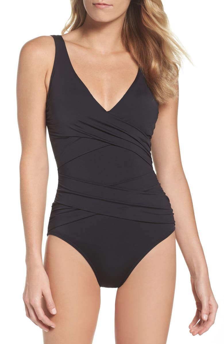 TOMMY BAHAMA Pearl One-Piece Swimsuit, Main, color, 001