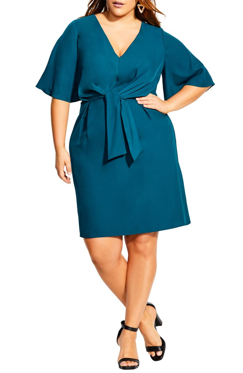 CITY CHIC Knot Front Dress, Main, color, TEAL