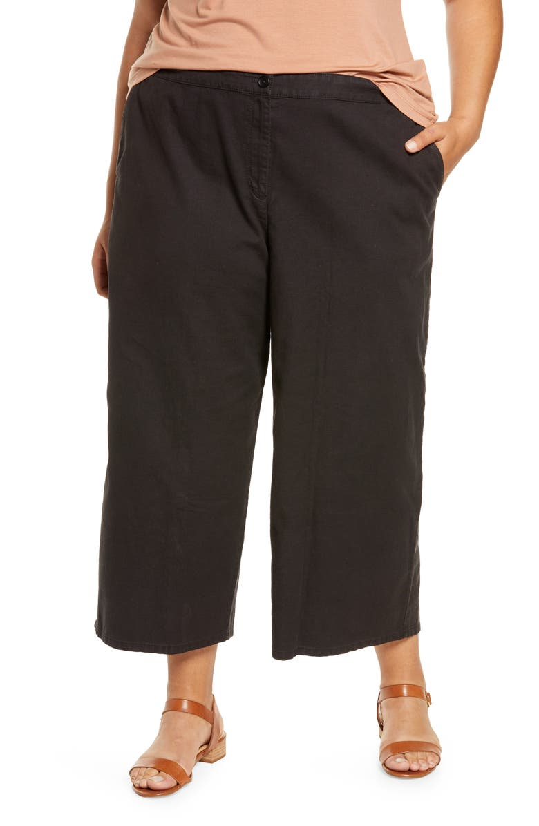 EILEEN FISHER Wide Leg Crop Pants, Main, color, BLACK