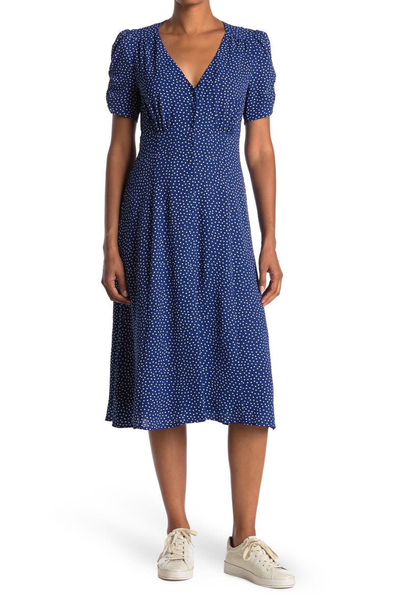 SAGE COLLECTIVE Button-Down Puff Sleeve Midi Dress, Main, color, NAVY