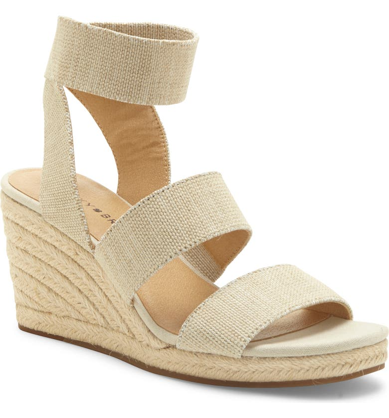 LUCKY BRAND Mindara Wedge Sandal, Main, color, NATURAL FABRIC
