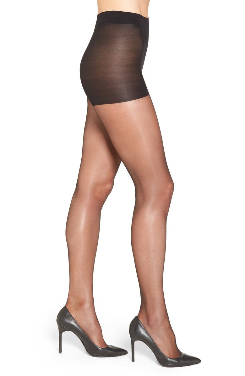 NORDSTROM 'Gloss' Control Top Pantyhose, Main, color, BLACK