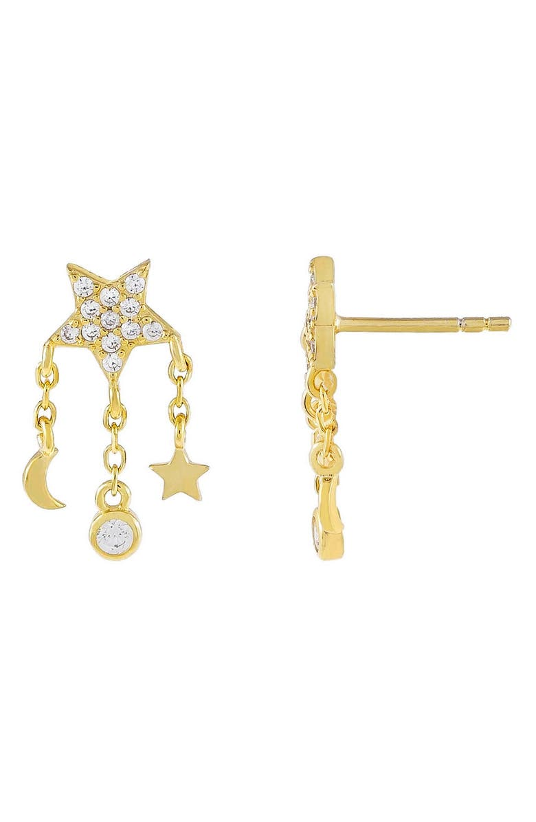 ADINA'S JEWELS Celestial Charm Stud Earrings, Main, color, GOLD
