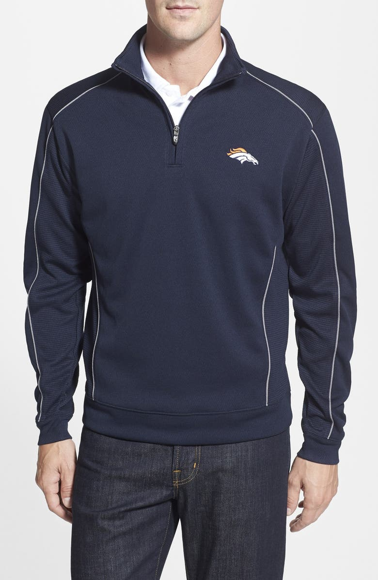 CUTTER & BUCK 'Denver Broncos - Edge' DryTec Moisture Wicking Half Zip Pullover, Main, color, 420