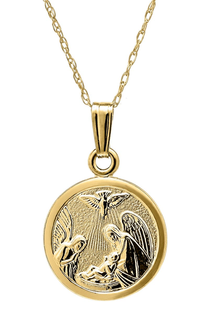 MIGNONETTE 14k Gold Guardian Angel Pendant Necklace, Main, color, Gold