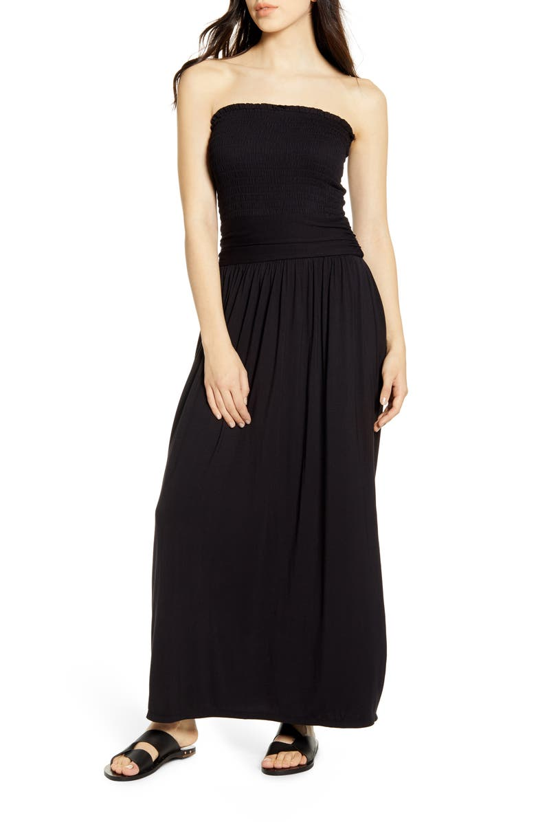 BP. Strapless Smocked Maxi Dress, Main, color, 001