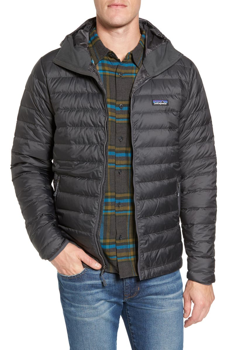 PATAGONIA Packable Windproof & Water Repellent Down Hooded Jacket, Main, color, 022