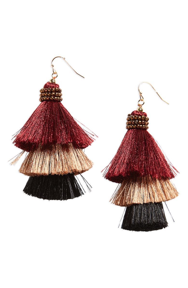 PANACEA Tiered Tassel Earrings, Main, color, 930