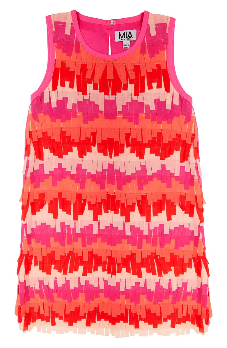 MIA NEW YORK Fringe Party Dress, Main, color, PINK