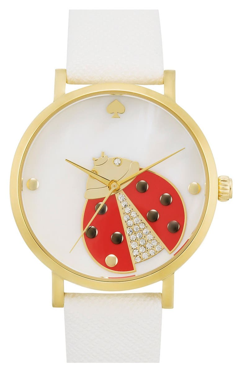 KATE SPADE NEW YORK 'metro' ladybug dial leather strap watch, 34mm, Main, color, White
