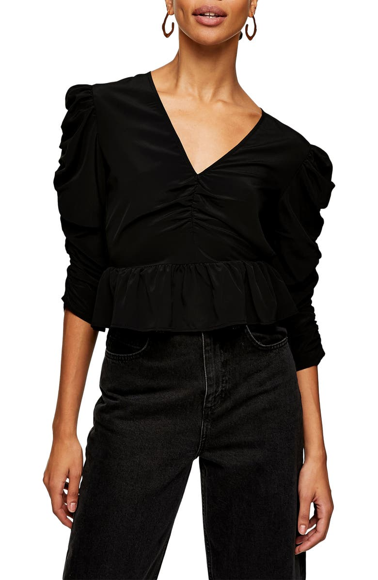 TOPSHOP Ruched Sleeve Top, Main, color, BLACK
