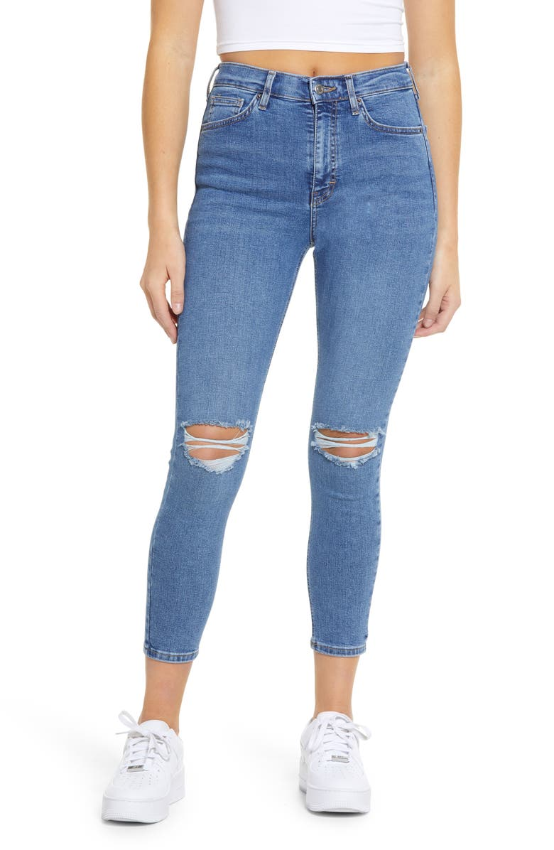 TOPSHOP Jamie Ripped Ankle Skinny Jeans, Main, color, MID DENIM