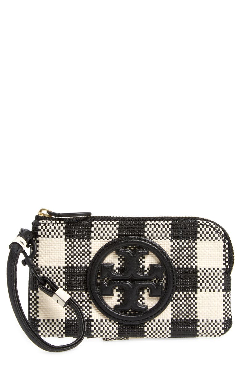 TORY BURCH Perry Bombe Gingham Wristlet, Main, color, BLACK/NEW IVORY GINGHAM