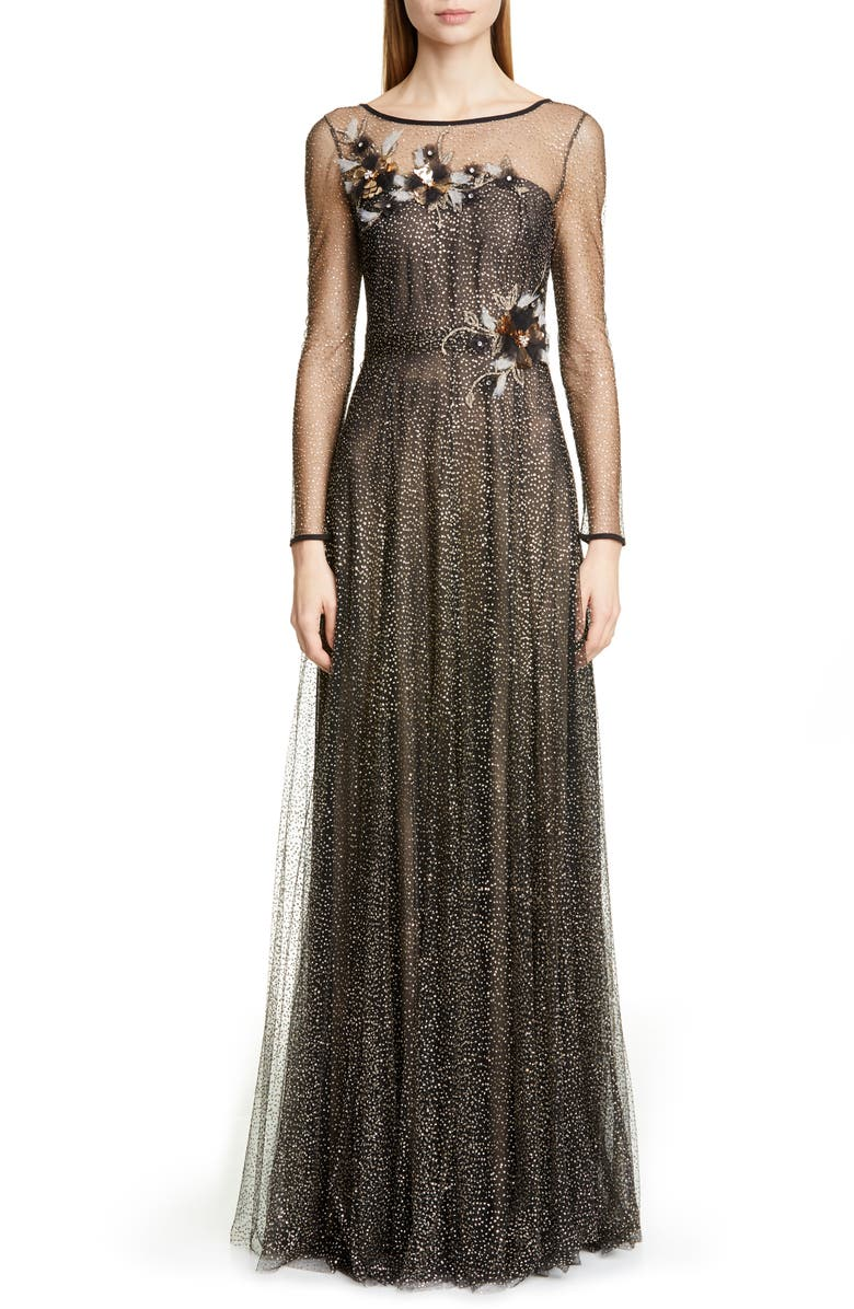 MARCHESA NOTTE Long Sleeve Shimmer Tulle Gown, Main, color, 001