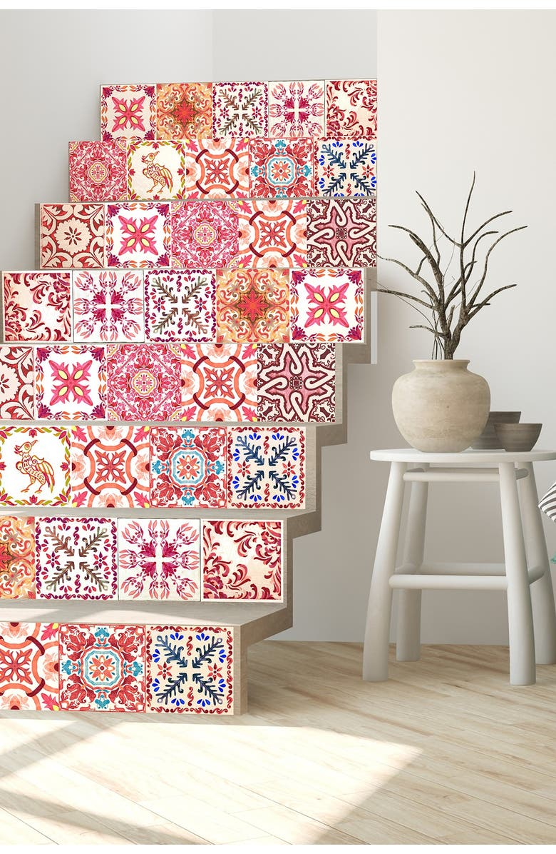 WALPLUS Red Moroccan Rose Mosaic Wall Sticker Decal, Main, color, MULTI
