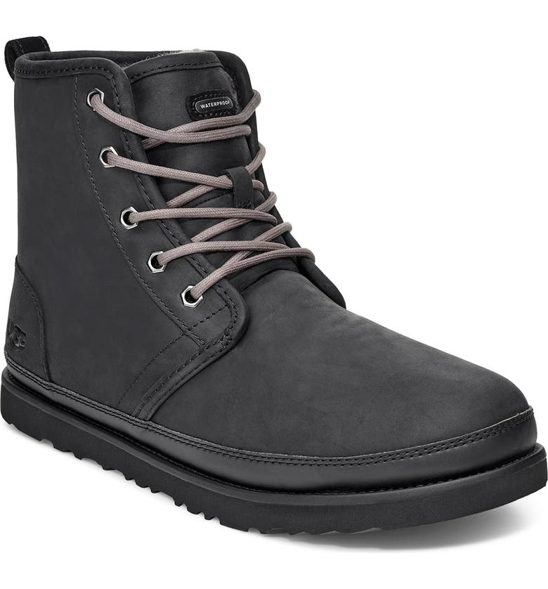 UGG<SUP>®</SUP> Harkley Weather Waterproof Plain Toe Boot, Main, color, BLACK