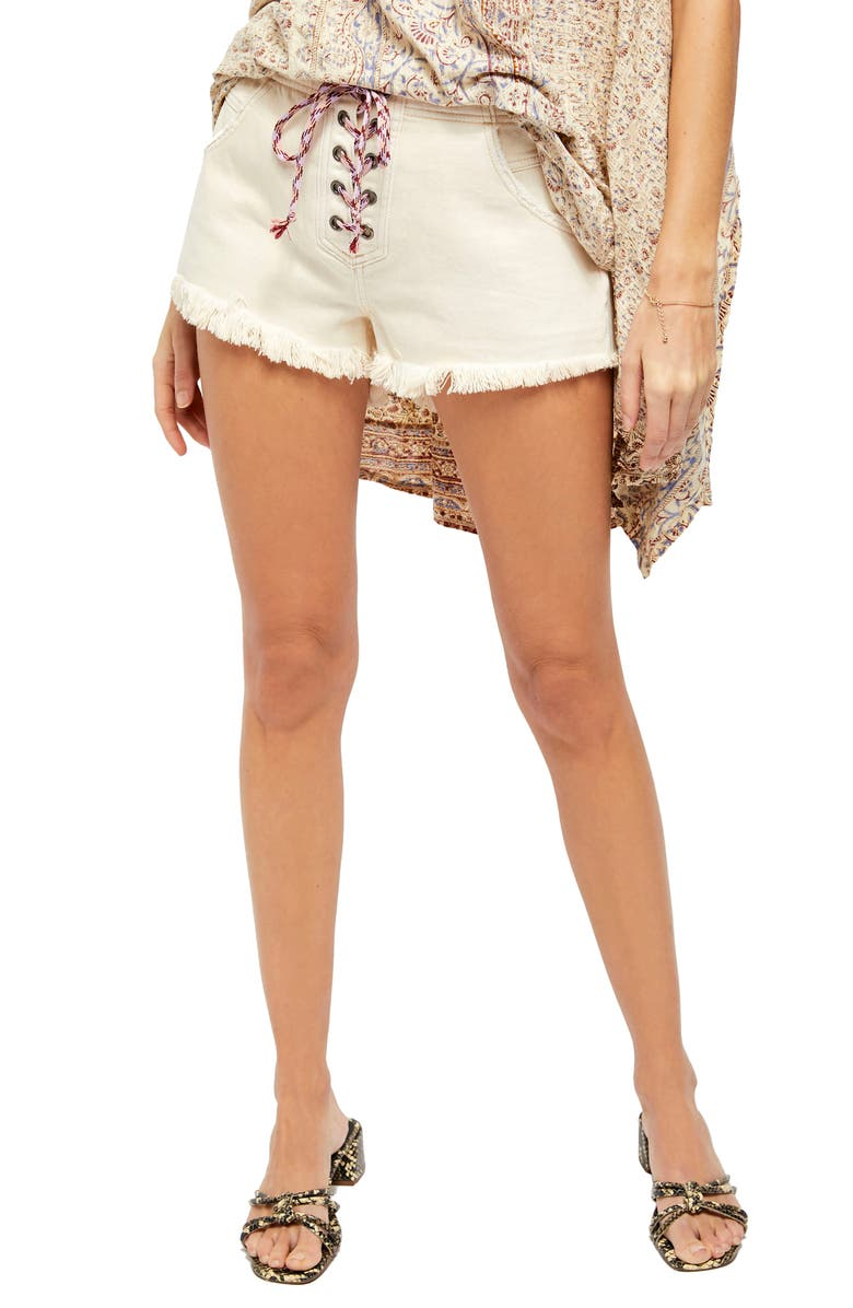 FREE PEOPLE Becket Lace-Up Cutoff Denim Shorts, Main, color, SALTY