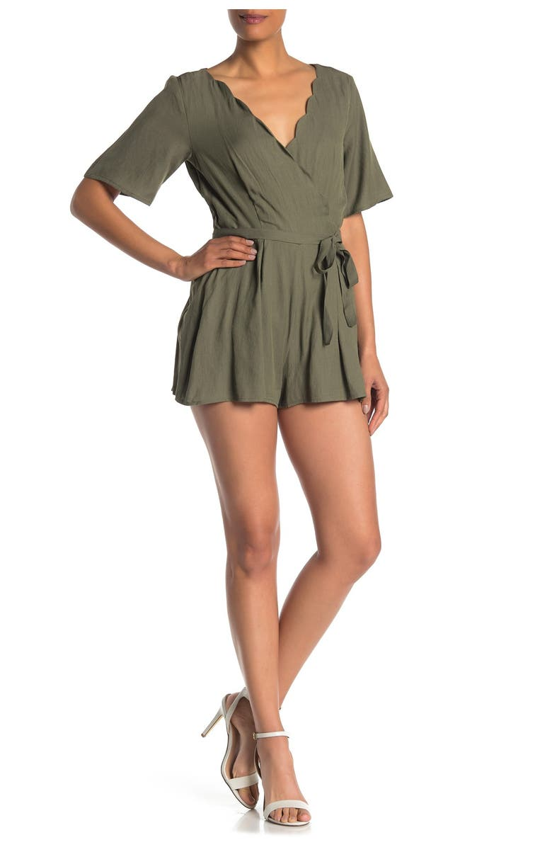 ROW A Scallop Neck Wrap Front Romper, Main, color, OLIVE