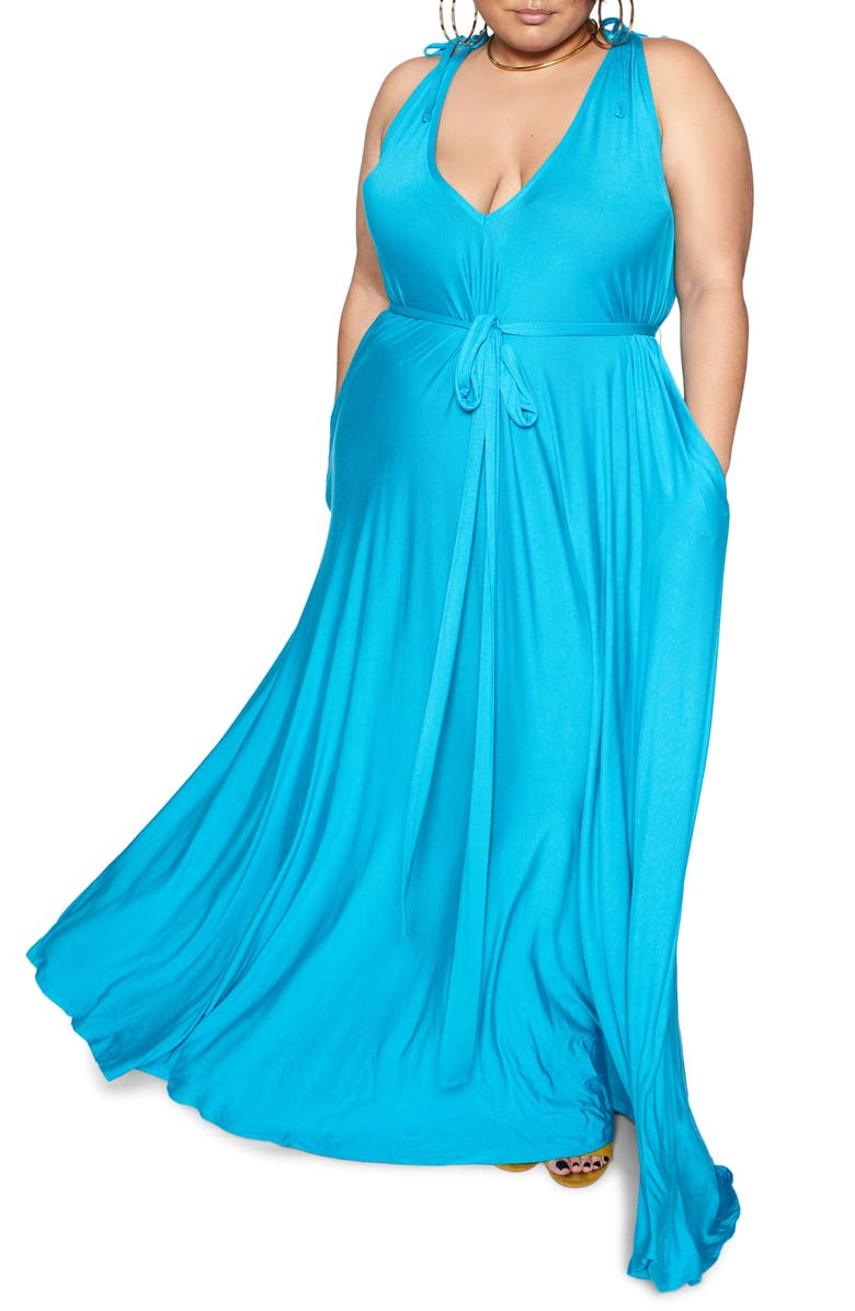 ZELIE FOR SHE Wild Oversize Maxi Dress, Main, color, TURQUOISE
