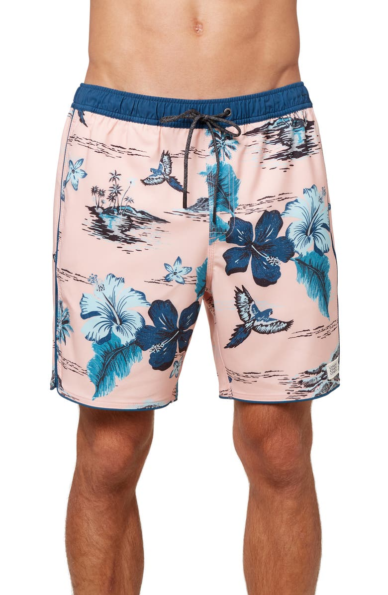O'NEILL Exchange Floral Volley Swim Trunks, Main, color, BLUE TROPIC FLORAL
