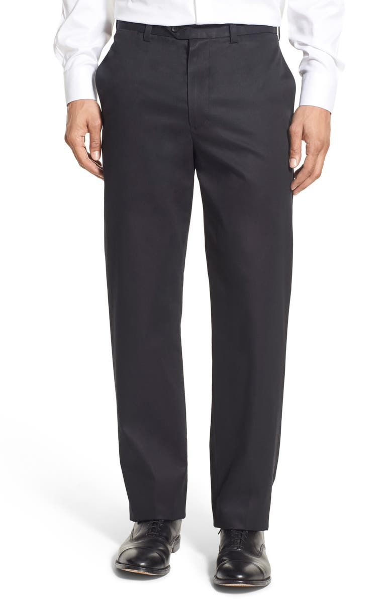 NORDSTROM MEN'S SHOP Nordstrom Smartcare<sup>™</sup> Classic Supima<sup>®</sup> Cotton Flat Front Straight Leg Dress Pants, Main, color, 001