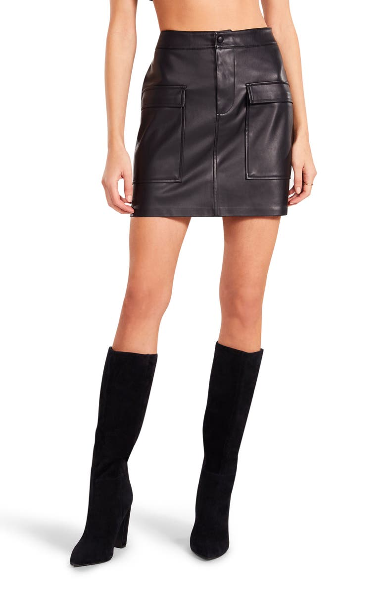 BB DAKOTA BY STEVE MADDEN Leather Too Late Faux Leather Skirt, Main, color, BLACK