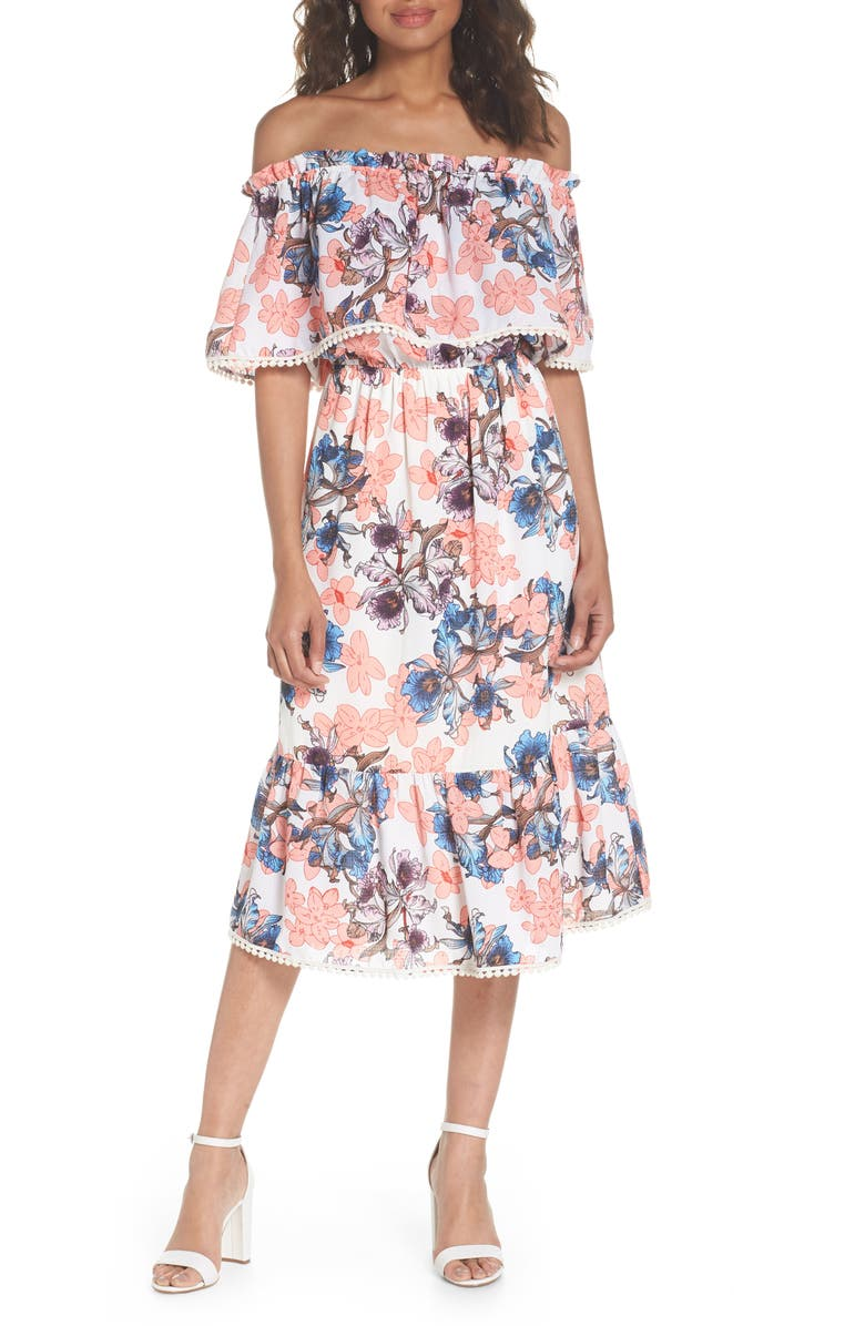 FRAICHE BY J Off the Shoulder Tiered Midi Dress, Main, color, ORCHID
