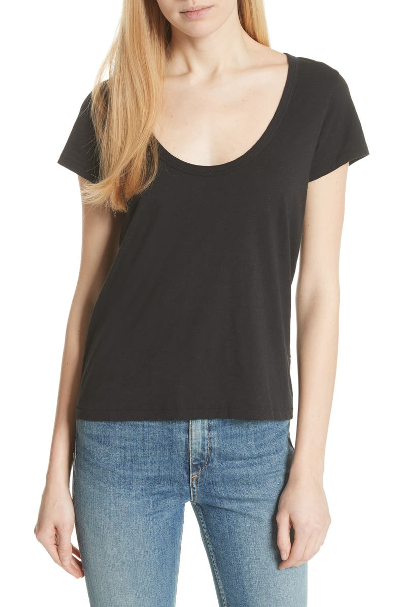 RAG & BONE U-Neck Tee, Main, color, BLACK