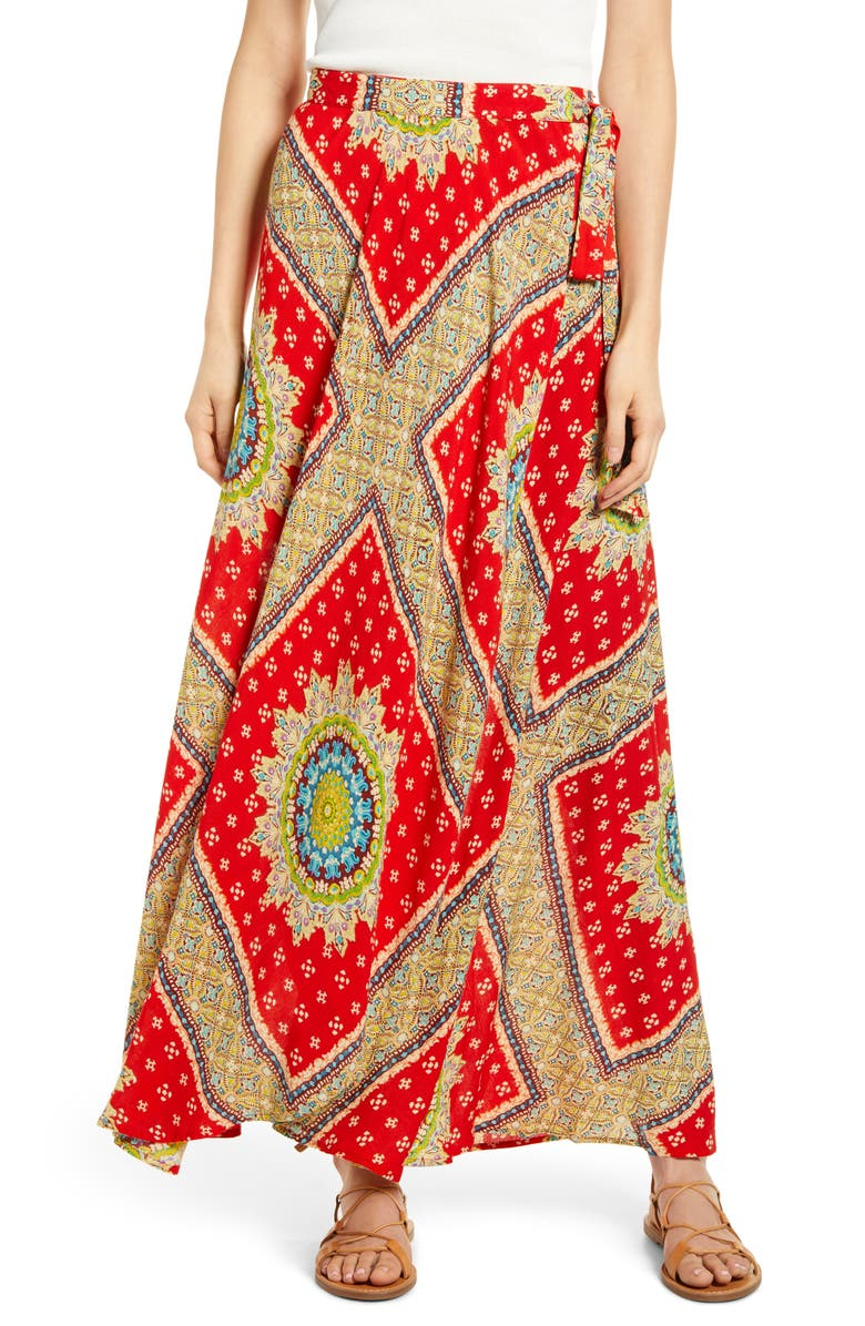 BAND OF GYPSIES Foulard Print Wrap Skirt, Main, color, RED/ BEIGE