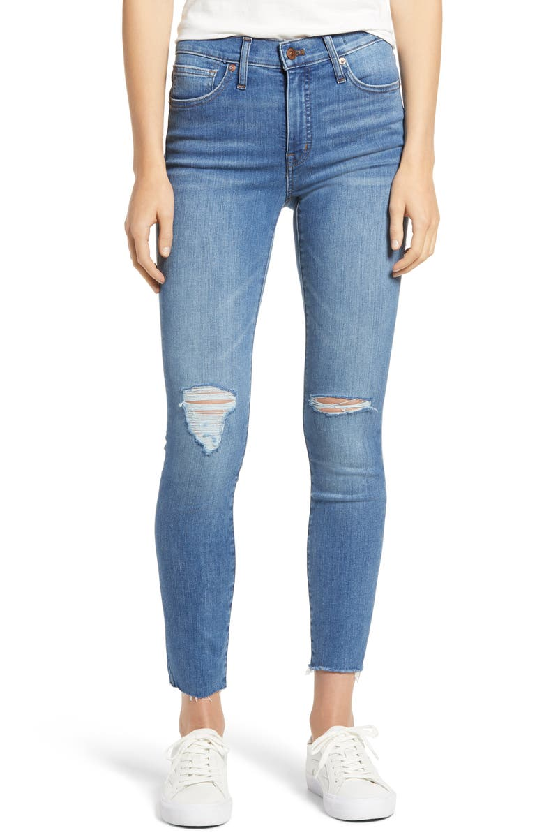 MADEWELL 9-Inch Mid-Rise Skinny Jeans, Main, color, BELLACHASE