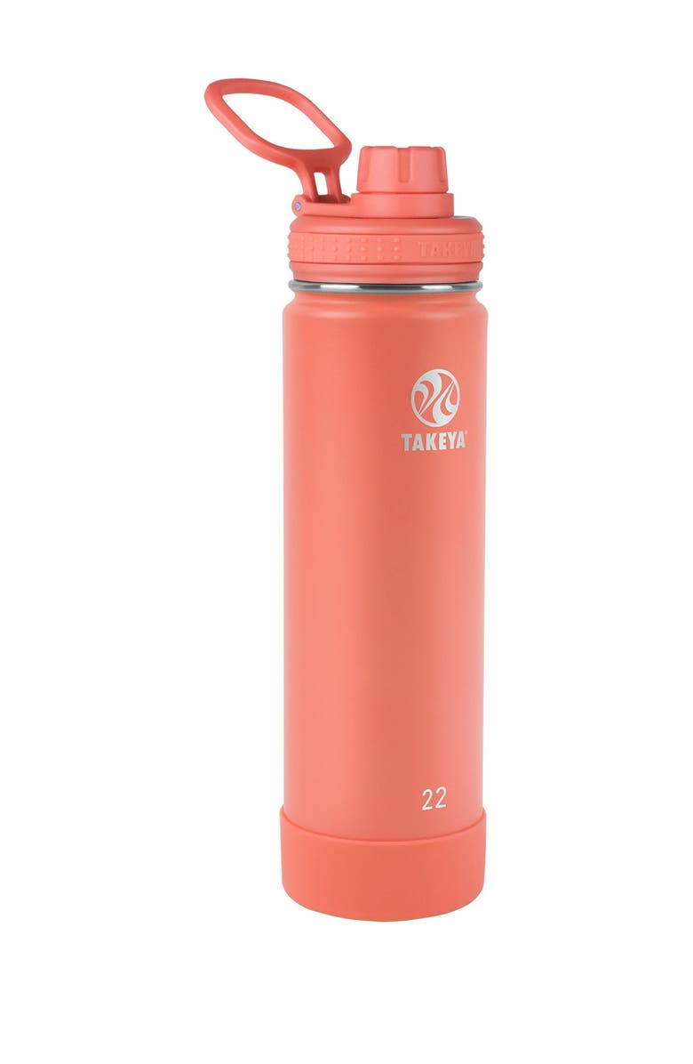 TAKEYA Coral Actives Insulated 22 oz. Spout Lid Stainless Steel Bottle, Main, color, CORAL