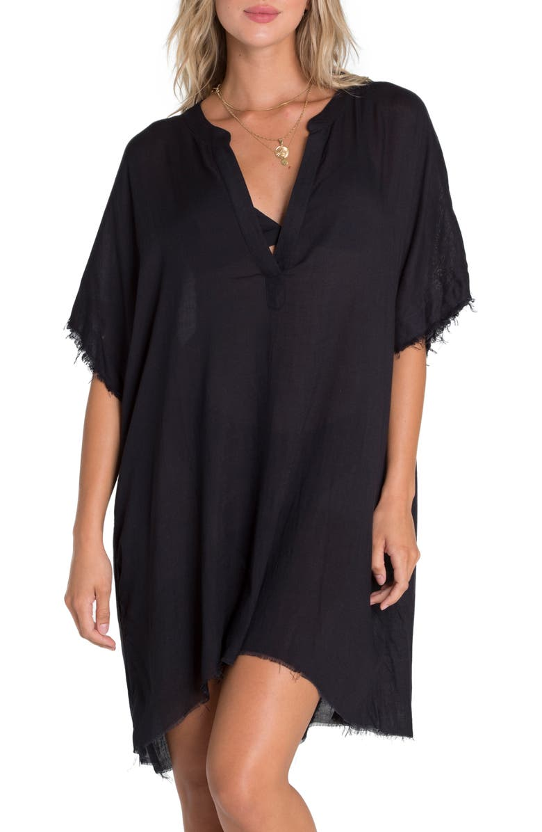 BILLABONG Seek and Find Cover-Up Tunic, Main, color, BLACK PEBBLE