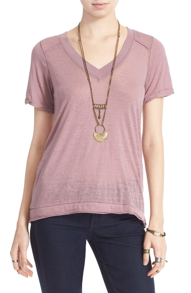 FREE PEOPLE 'Pearls' Raw Edge V-Neck Tee, Main, color, 511