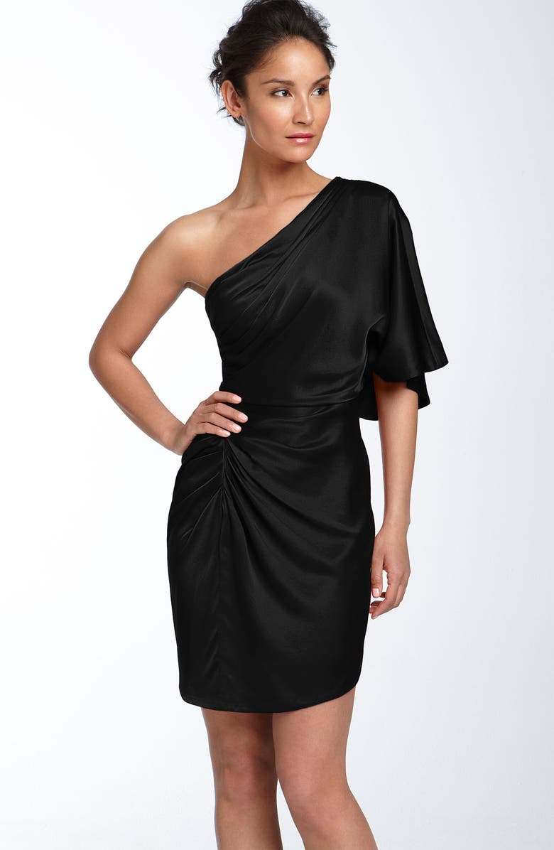 AIDAN MATTOX Draped One Shoulder Stretch Satin Dress, Main, color, 001