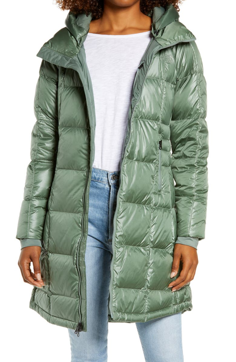 THE NORTH FACE Acropolis Water Repellent 550 Fill Power Down Parka, Main, color, LAUREL WREATH GREEN