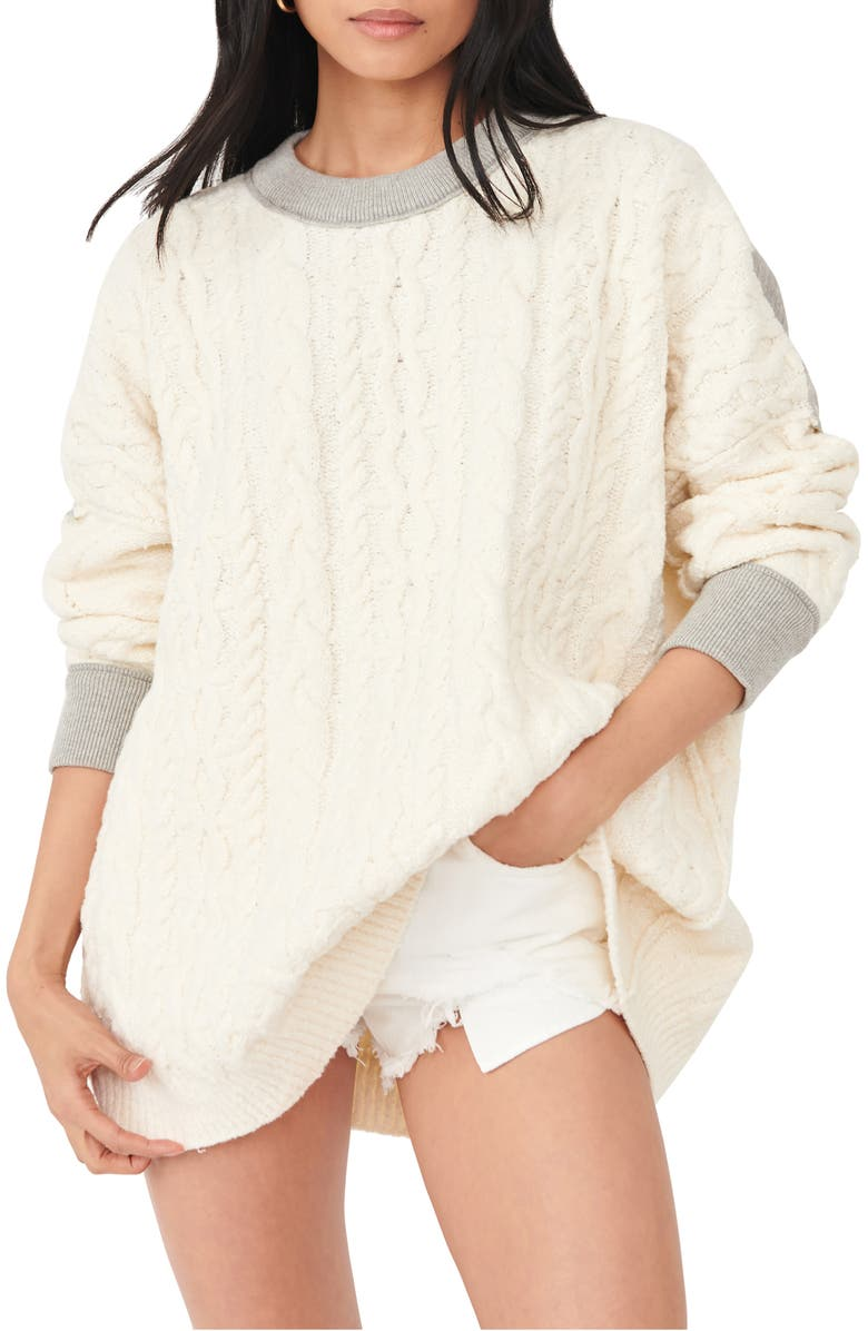 FREE PEOPLE Olympia Colorblock Sweater, Main, color, IVORY COMBO