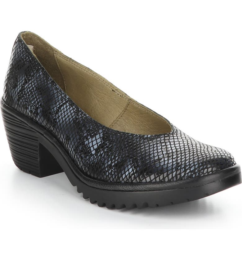 FLY LONDON Walo Pump, Main, color, BLACK SNAKE PRINT LEATHER